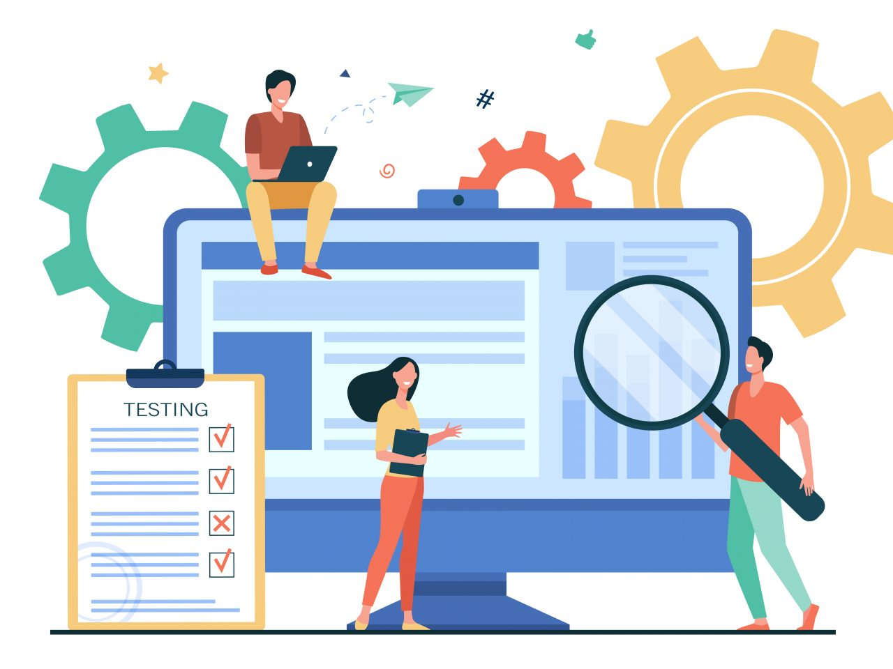 Tiny people testing quality assurance in software isolated flat vector illustration. Cartoon character fixing bugs in hardware device. Application test and IT service concept