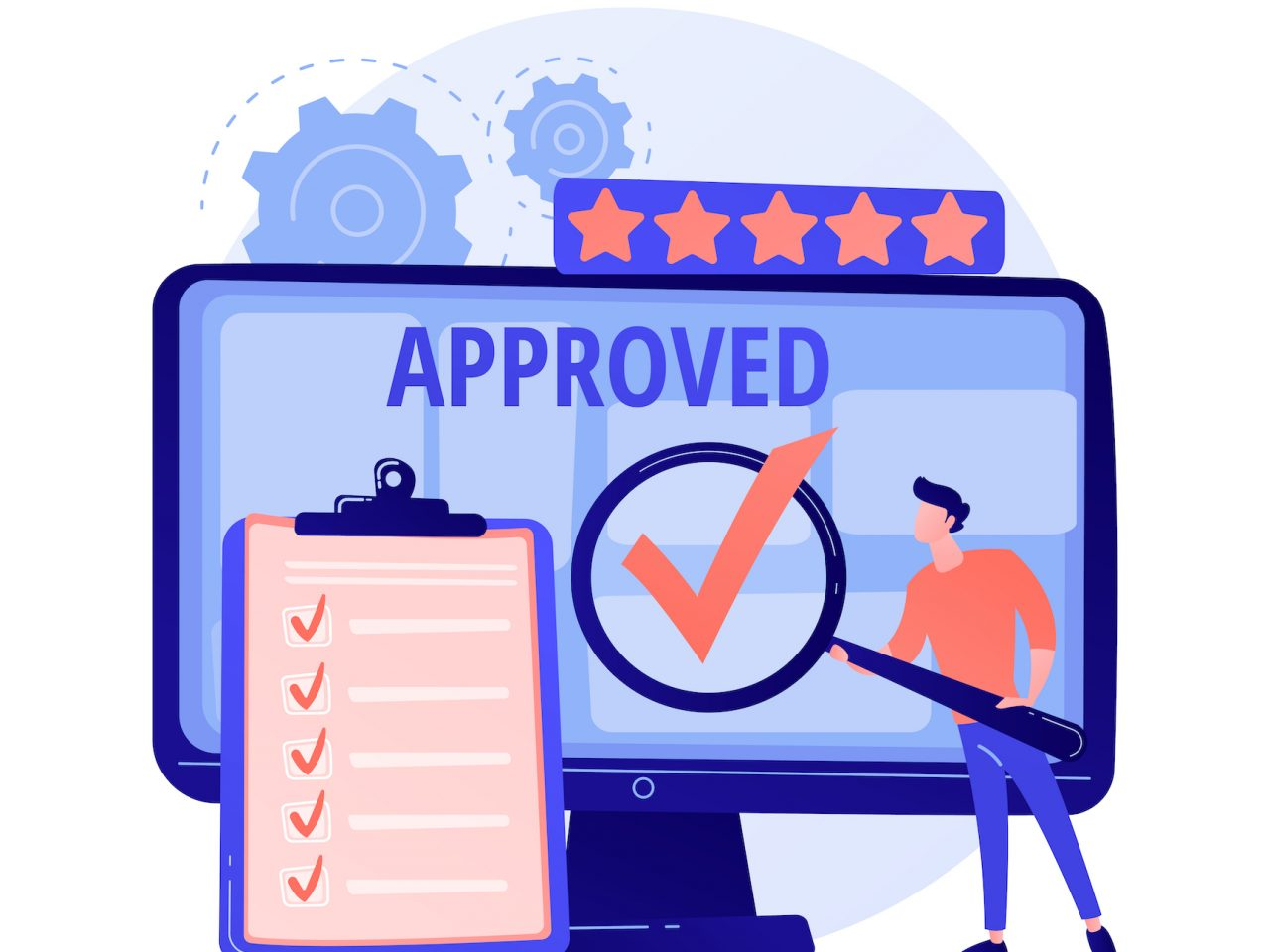 Expert approved. Cartoon character holding checkmark symbol on hand. Finished task, done sign. Satisfactory, official sanction, acceptance. Vector isolated concept metaphor illustration