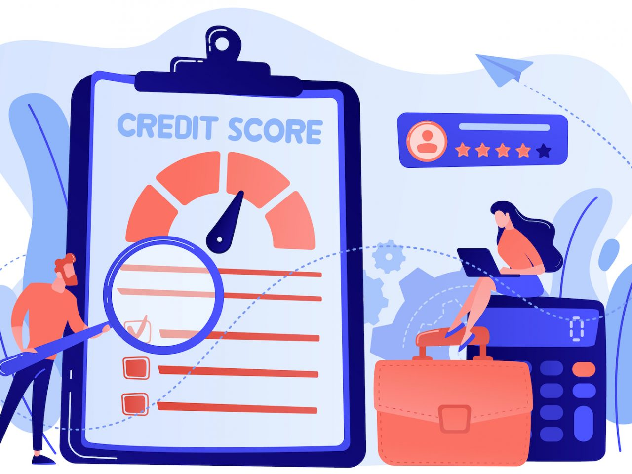 Tiny people analysts evaluating ability of prospective debtor to pay the debt. Credit rating, credit risk control, credit rating agency concept. Pink coral blue vector isolated illustration