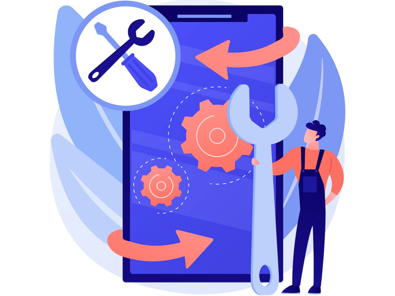 Mobile device repair abstract concept vector illustration. Mobile phone and tablet repair service, smartphone setup, device problem diagnostics, broken gadget, smartwatch fixing abstract metaphor.