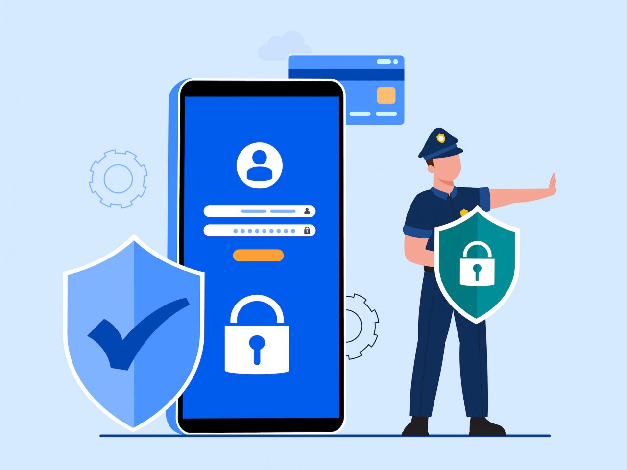 Global data security, personal data security, cyber data security online concept illustration, Internet security or information privacy & protection idea, software access data as confidential, abstract hi speed internet technology. Rendering flat isometric illustration isolated on white background.