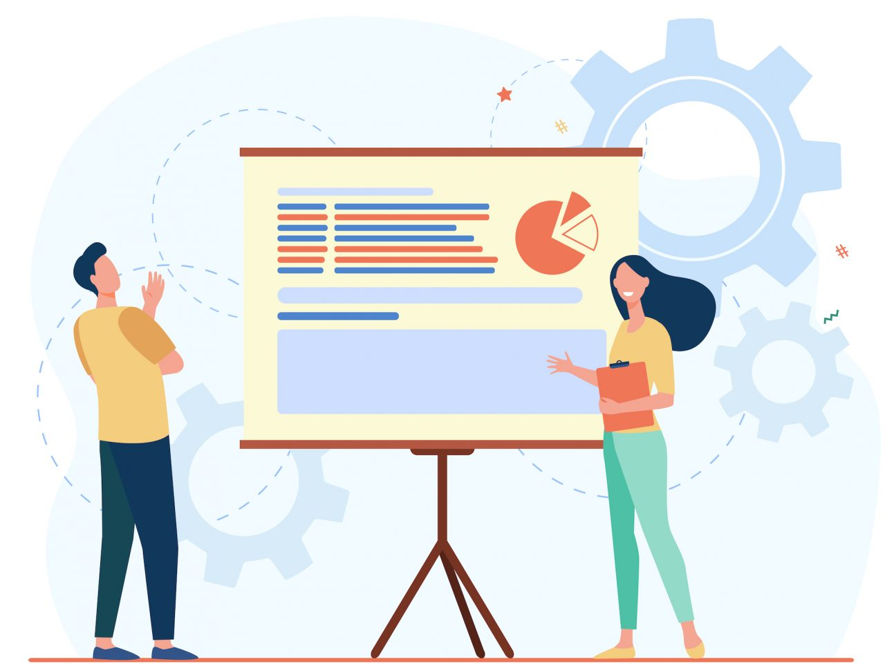 Two colleagues analyzing work together. Chart, presentation, gear flat vector illustration. Analytics and statistics concept for banner, website design or landing web page